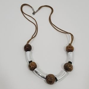 Boho necklace wood with silver color metal